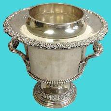 Antique Wine Cooler Ornate Silverplate on Copper