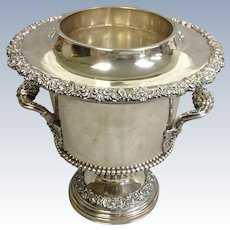Antique Wine Cooler Ornate Silverplate on Copper