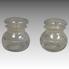 Pair of Cut Glass Candy Jars with Lids Victorian