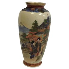 Satsuma Vase Ladies in Kimona Scenic 6""