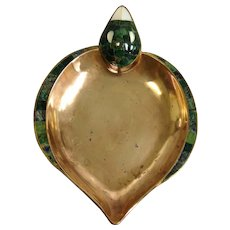Los Castillo Duck Dish Copper Malachite Inlay