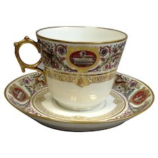 Sevres Chateau Fontainebleau Royal Hunting Breakfast Cup and Saucer