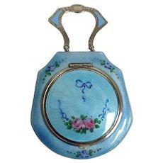 Guilloche Blue Enamel Compact Mint!