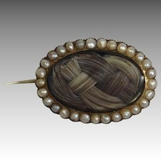 Victorian Mourning Hair Pin Pearls 9 Carat Gold
