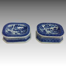 Canton Open Salt Dishes Chinese Export 19th c.