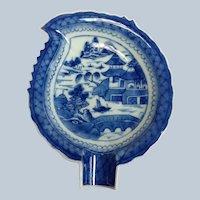 "Blue Canton Leaf Dish 7"" China Mid 19th c."