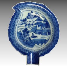 "Blue Canton Leaf Dish 7"" China Mid 19th c."
