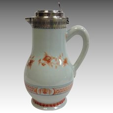 Chinese Export Flagon with Continental Silver Top 18th c.