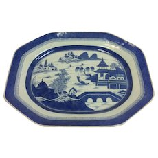 "Large Blue Canton 18"" Platter Chinese Export Boats Harbor Scene"