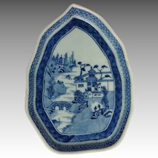 Canton Blue Tea Tile China 19th c.
