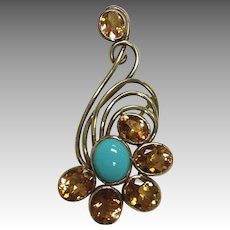 Citrine and Turquoise Brooch 18K