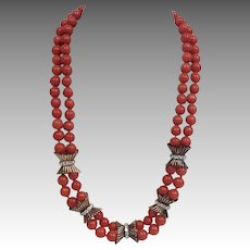Double Strand Coral and Diamond Necklace 14K