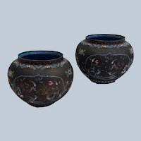 """Pair Russian Floral Enamel on Copper 5"""" Vases 19th c."""