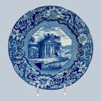 "Staffordshire Blue White Transferware  8"" Plate"