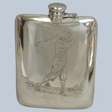 Golf Flask Kerr Large Sterling Silver 1910