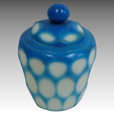 Blue Chinese Perking Overlay Glass Covered Jar 19th c
