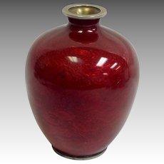 """Japanese Red Cloisonne Vase Signed 4"""""""