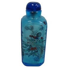 Blue Perking Glass Chinese Reverse Painted Snuff Bottle