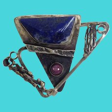 Lapis and Star Ruby Sterling Pin by Fred Tate 1988