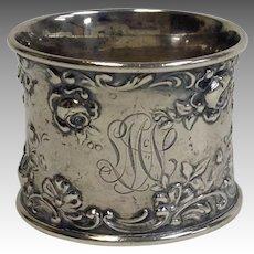 Gorham Ornate Floral Sterling Napkin Ring SMN Mono