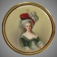 French Miniature on Porcelain Grand Lady 19th c.