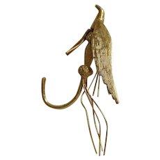 Fly Fishing Hook Charm Pendant 18K