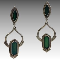 Green Glass Dangling Earrings Sterling Modern