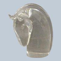 "Steuben Horse Head Paperweight 4"""