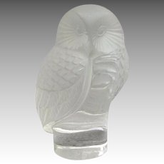 "Lalique Owl Hibou Paperweight 3 1/2"" Signed"