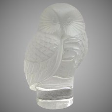 """Lalique Owl Hibou Paperweight 3 1/2"""" Signed"""
