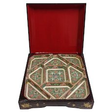 """Vintage Chinese Lacquer Boxed Porcelain Sauce Set 11"""" by 11"""""""
