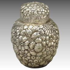 Floral Repousse Tea Caddy Sterling 19th c.