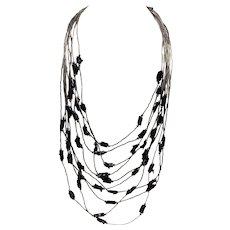 Liquid Silver Black Coral Native American Multi-Strand Necklace