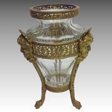 French Gilt Bronze Bacchus Tall Vase 19th c.