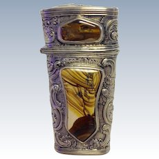 Etui Agate Inlay Germany 835 Silver