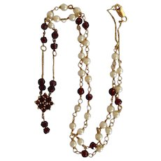 "Garnet and Pearl Chain 21"" Necklace 14k"