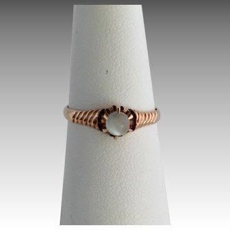 Moonstone Ring 10 Karat Gold Size 7.5