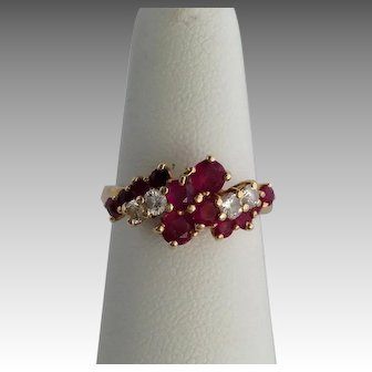 Ruby and Diamond Cocktail Ring 14K
