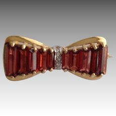 Pink Tourmaline Diamond Ribbon Brooch 14k