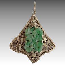 Jade and Sterling Filigree Pendant
