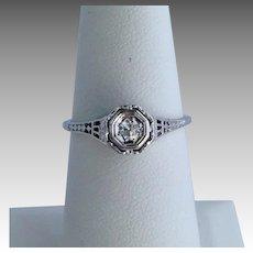Art Deco Diamond Filigree Ring 18K White Gold 7.5