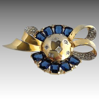 "Mazer Jomaz Galaxy Sapphire Glass & Rhinestone Brooch Large 3"""