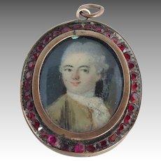 Garnet and Gold Framed Georgian Miniature Portrait Pendant