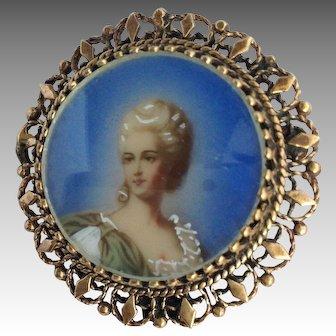 Portrait Pin 14 Karat Gold Broach