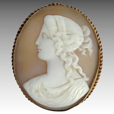 Early Shell Cameo Box Glass Gilded Brass 19th c.