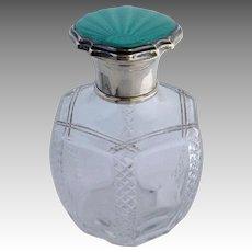 Green Enamel Glass Perfume Sterling England 1929