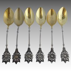 Six American Daisy Spoons Gilded Sterling 5 3/8''