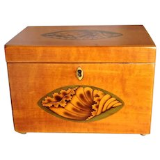 Hepplewhite Shell Inlay Tea Caddy 1810