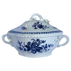 1st Period Worcester Covered Casserole with Applied Flowers Vine Handles