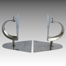 Pair of Hagenhauer Peacock Chrome Bookends